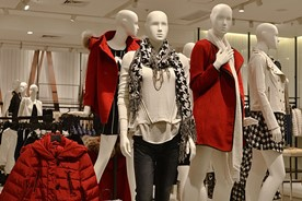 Clothing displayed in a department store