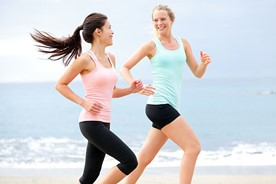 Two girls getting their exercise