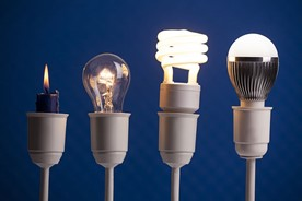 Various types of light bulbs