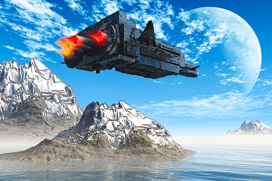 Fanciful aerospace vehicle flying over alien terrain