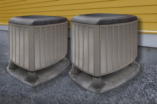 Air conditioning units next to a building