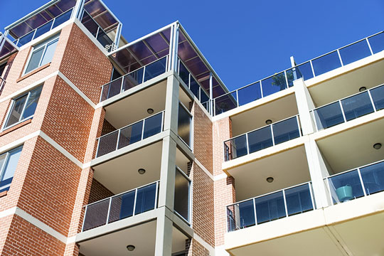 Apartment building with private balconies