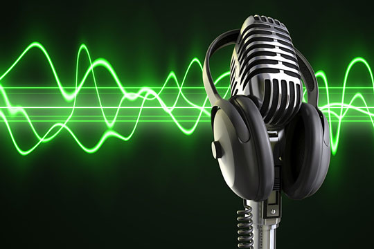 Audio sound waves from a microphone