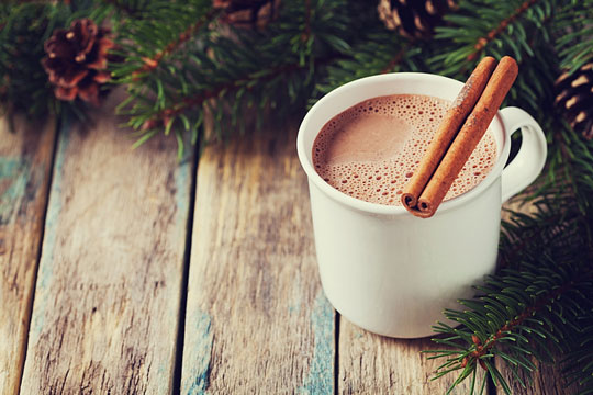Hot beverage with cinnamon sticks