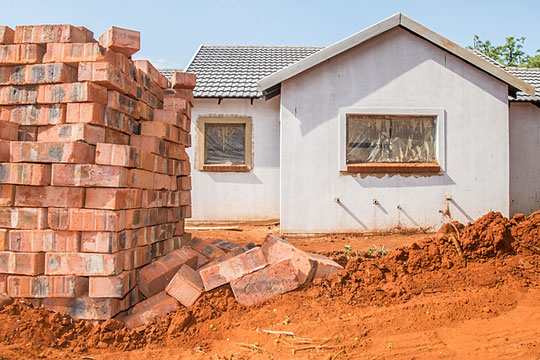 Building materials stacked and ready for use