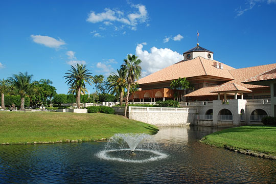 Country club building overlooking a lake