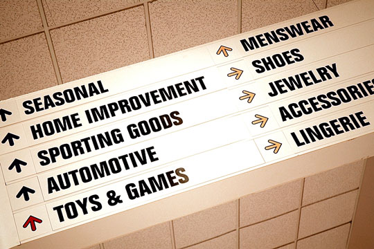 Direction signs at a department store