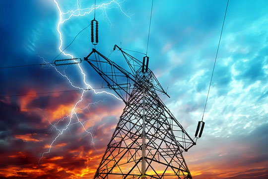 High tension wires for transmitting electricity