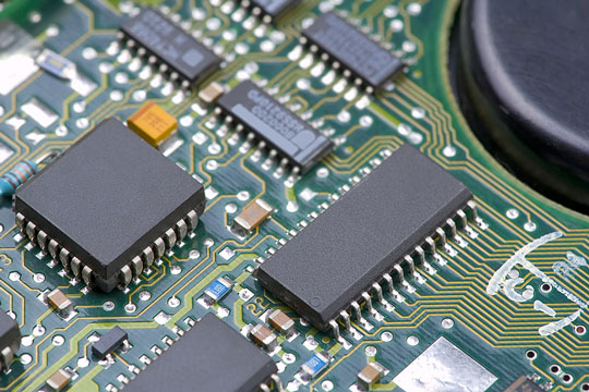 Electronic components on a circuit board