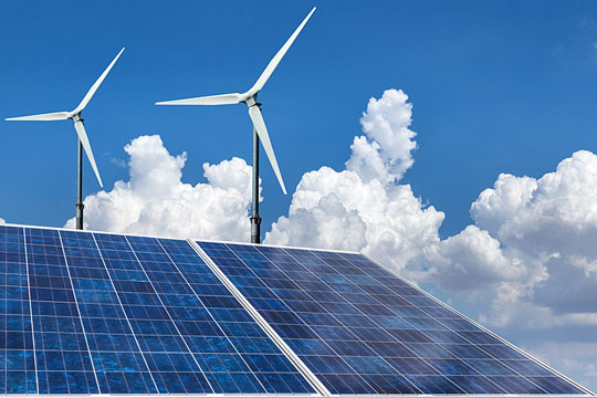 Energy-producing solar panels and windmills