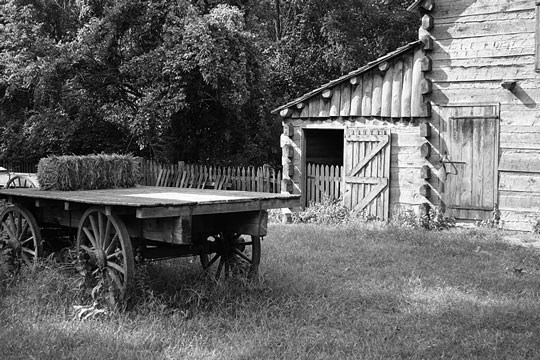 Barn and farm wagon on a ranch