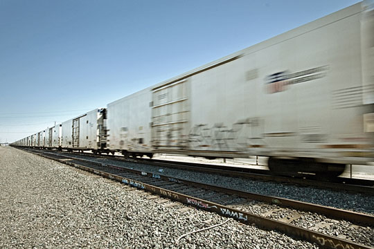 Train boxcars carrying freight