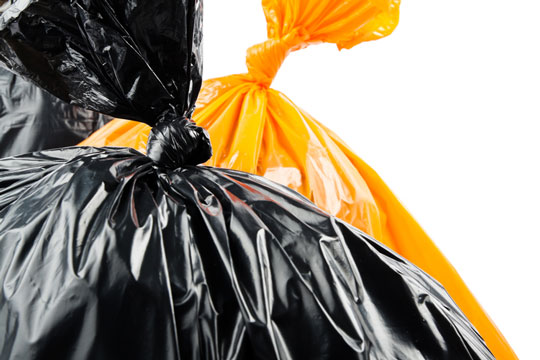 Typical plastic garbage bags