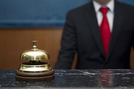 Reception desk bell at a hotel