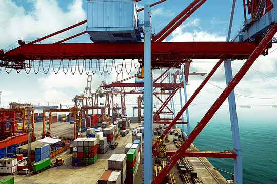 Container port for unloading imported goods