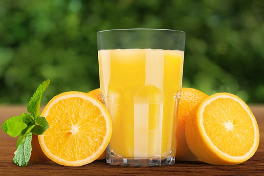 Delicious oranges and orange juice