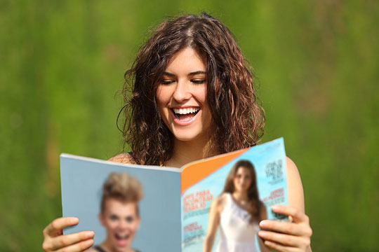 Woman enjoying her magazine