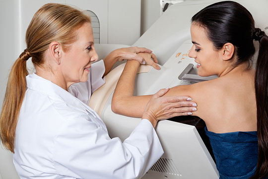 Mammography machine scanning for cancer