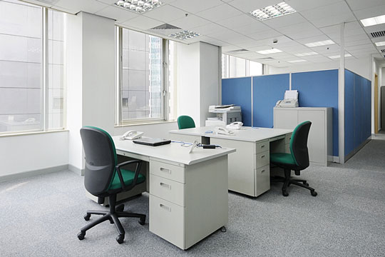 Desks in an office setting