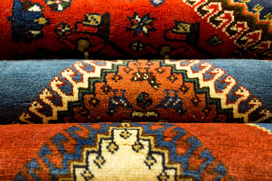 Fabric printed with an oriental design