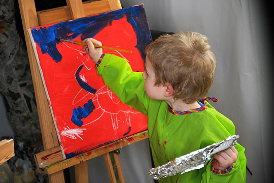 Budding artist painting a picture
