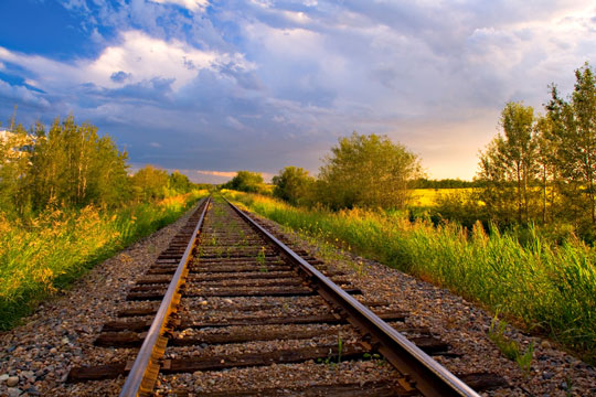 Straight railroad tracks in farmland
