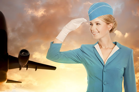 Flight attendant wearing her uniform