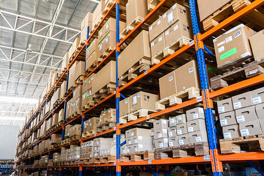 Products on warehouse shelves